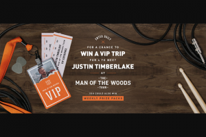 Bai Brands – Justin Timberlake Concert Getaway – Win winner and three guest to Memphis Tennessee to attend the Justin Timberlake concert on January 12 2019.