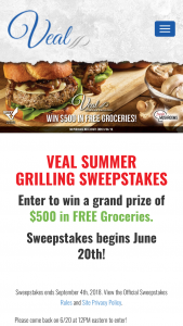 Cattlemen's Beef Board – Veal Summer Grilling – Win $500 in gift cards to a grocery store that will be chosen at the Sponsor's sole discretion