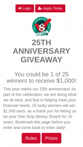 Check Into Cash 25th Anniversary Sweepstakes – Win $1,000 Cash