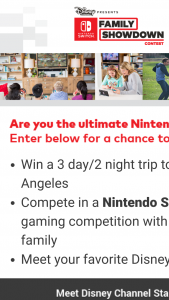 Disney Channel – Nintendo Switch Family Showdown Contest – Limited Entry Sweepstakes
