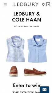 Enter – Win A $1,000 Ledbury Gift Card And A $500 Cole Haan Gift Card 1 Winner  In Addition Enter To Win A Ledbury Shirt With A Value Up To $165 In The Form Of A Ledbury Gift Card 5 Winners