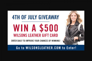 Enter – Win A $500 Wilsons Leather Gift Card 1 Winner
