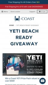 Enter – Win A YETI 35 Cooler, A $200 Coast Apparel Gift Card, A Hat, Water Bottle, And More