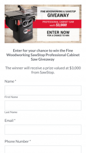 Fine Woodworking – Sawstop Professional Cabinet Saw – Win a prize package
