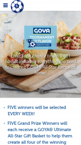 Goya – Tournament Of Flavor – Win a GOYA® Ultimate All-Star Gift Basket to create GOYA® recipes at home
