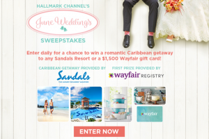 Hallmark Channel – June Wedding – Win a 4-day/3-night Luxury Included® vacation for two (2) adults to any of the sixteen (16) Sandals Resorts of the grand prize winner's choice (subject to availability