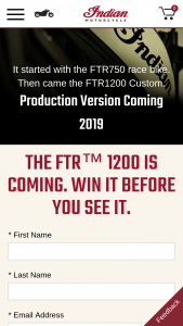 Indian Motorcycle Company – Ftr 1200 Online Sweepstakes