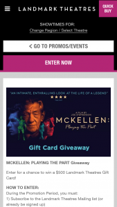 Landmark Theaters – Mckellen Playing The Part Giveaway – Win (1) $500.00 Landmark Theatres Gift Card (est ARV $500.00).