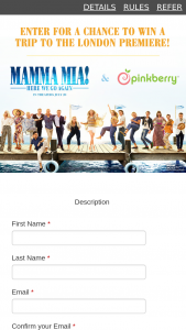 Pinkberry – Mamma Mia Here We Go Again Sweepstakes