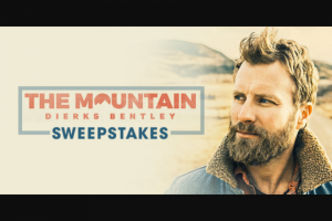 "Premiere Networks – Dierks Bentley The Mountain – Win day/two (2) night trip for Winner and one (1) guest (together the ""Attendees"") to see Dierks Bentley in concert on September 15 2018 in Tampa Florida (the ""Concert"")."