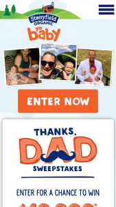 Stonyfield Farm – Thanks Dad – Win $10000.00 in the form of a check made out to the winner
