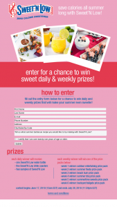Sweet'n Low – Summer Of Sweet Calorie Savings 2018 Sweepstakes