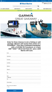 West Marine – Garmin Great Giveaway – Win prize pool value of $5250.