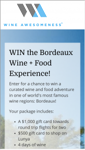 Wine Awesomeness – Bordeaux Wine  Food Experience Sweepstakes