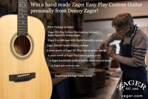 Zager Guitars – Guitar Giveaway – Win includes Easy Play Acoustic Guitar Package w/ $199 Free Zager lifetime lesson library package