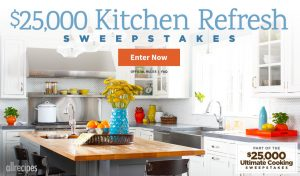 Meredith – All Recipes – Win a $25,000 check to Refresh your Kitchen