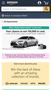 Amazon Alexa Home-Smart-Home Sweepstakes – Win A2019 Lexus ES With Alexa Capability, $52,000 Cash, A Trip For Two To Seattle, WA, And A Smart Home Prize Package