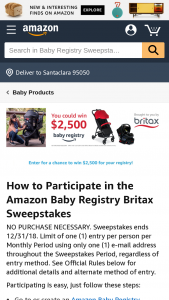 "Amazon – Baby Registry Britax – Win of a $2500.00 Amazoncom Gift Card (""GC"")."