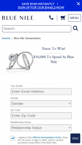 Blue Nile – $10000 – Win $10000 to spend at Blue Nile awarded as a Blue Nile gift certificate or credit