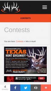 Buckmasters – 2018 Texas Hunt Giveaway Sweepstakes