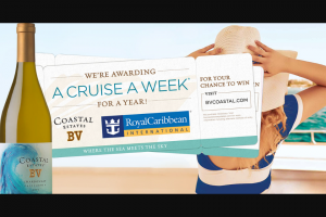 BV Coastal Cruise A Week Sweepstakes For A Chance – Win A Caribbean Cruise For Two There Will Be 52 Winners Total