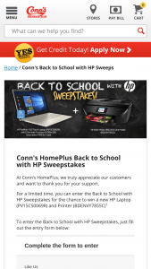 "Conn's Homeplus – Back To School With Hp – Win  Printer (1) HP Pavillion 15.6"" Touch Laptop – PV15CS0069R (1) HP ENVY Photo 7855 All-in-One Printer – BDENVY7855C (1) 8Gen Intel Processor & Office 365 Subscription FREE for 1 year"