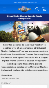 DreamWorks Theatre Kung Fu Panda Sweepstakes – Win A 3day2night Trip For Four To Los Angeles, CA To Experience Universal Studios Hollywood