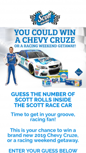 Guess How Many Scott Rolls Are Inside The Scott Race Car Contest – Win A2019 Chevy Cruze