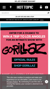 Hot Topic – Win A Trip To Los Angeles – Win a trip for two to Los Angeles for an intimate performance by the Gorillaz