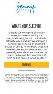 Jenny Craig – What's Your Sleep Iq Sweepstakes