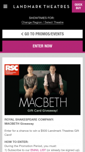 Landmark Theaters – Royal Shakespeare Company Macbeth Giveaway – Win (1) $500.00 Landmark Theatres Gift Card (est ARV $500.00).