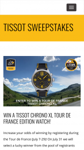LEtape California Le Tour De France Tissot Sweepstakes – Win ATissot Chrono XL Classic Tour De France Edition Watch