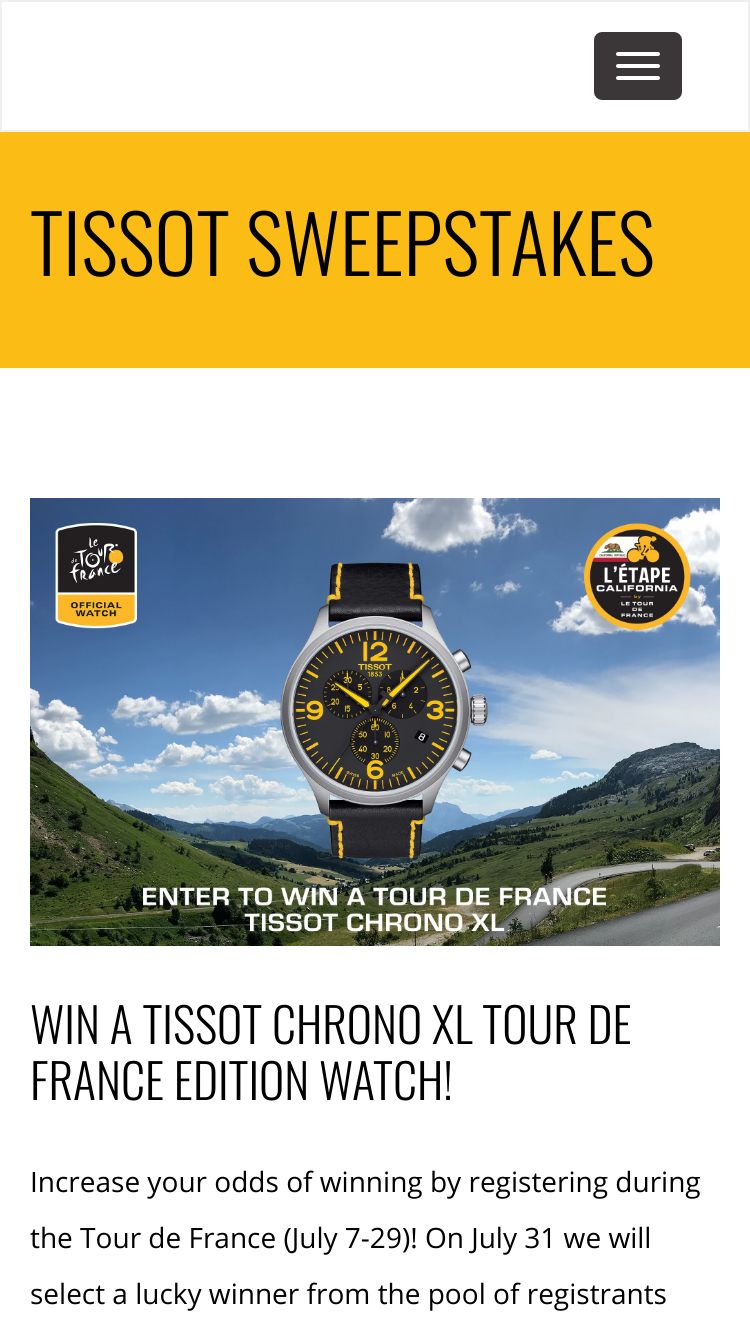 LEtape California Le Tour De France Tissot Sweepstakes – Win