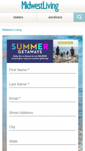 Midwest Living – Summer Getaways – Win $2000 awarded in the form of a check