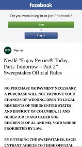 Nestlé – Enjoy Perrier Today Paris Tomorrow – Part 2 – Win – A trip for two (2) to Paris France