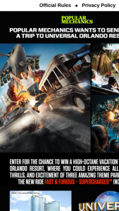 Popular Mechanics Universal Orlando Resort Summer Sweepstakes – Win A4day3night Trip For Four To Orlando, FL To Experience Universal Studios