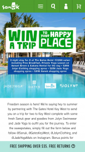 Sanuk The Gates Hotel Key West Instagram Sweepstakes – Win A3night Trip For Two To Key West, FL For A Stay At TheGates Hotel Key West