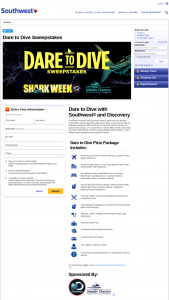 Southwest Airlines And Discovery Communications – Dare To Dive Sweepstakes