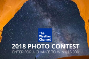 The Weather Channel – It's Amazing Out There 2018 Photo Contest – Win will consist of Fifteen Thousand Dollars ($15000.00) which will be awarded in the form of a check made payable to the winner