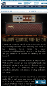Zzounds – Universal Audio Ox  Vox Ac30ch Giveaway – Win one Universal Audio OX Amp Top Box