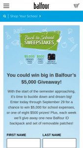 American Achievement Corporation / Balfour – Back To School – Win one Balfour branded back pack and one set of seven Balfour patches