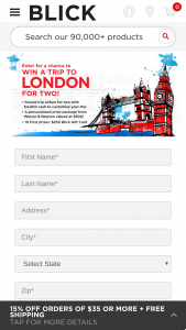 """Blick Art Materials – Trip To London – Win one (1) $250 Blick gift card (""""Gift Card"""")."""