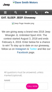 Dave Smith Motors Jeep Giveaway – Win A 2018 Jeep Wrangler Unlimited Sport