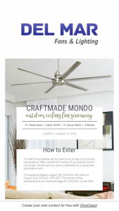 Del Mar Fans August Giveaway – Win A Craftmade Mondo 72 Ceiling Fan Valued At $498