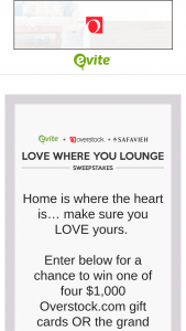 Evite Overstock – Love Where You Lounge – Win living room products pictured (valued at $2500)