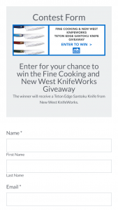 2018 Fine Cooking New West Knifeworks Sweepstakes – Win A Teton Edge Santoku Knife Valued At $349.