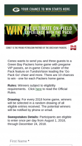 Green Bay Packers – Cenex Leader Of The Pack – Win four tickets to a Packers home game