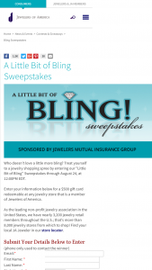 "Jewelers Of America – ""a Little Bit Of Bling"" – Win a $500 gift certificate to a Jewelers of America Retail Member of their choice"