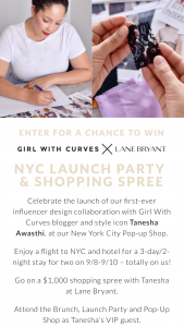 Lane Bryant – Girlwithcurves – Win a 3 day / 2 night trip for two (2) people to New York