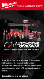 Milwaukee Tool – Automotive Giveaway Sweepstakes